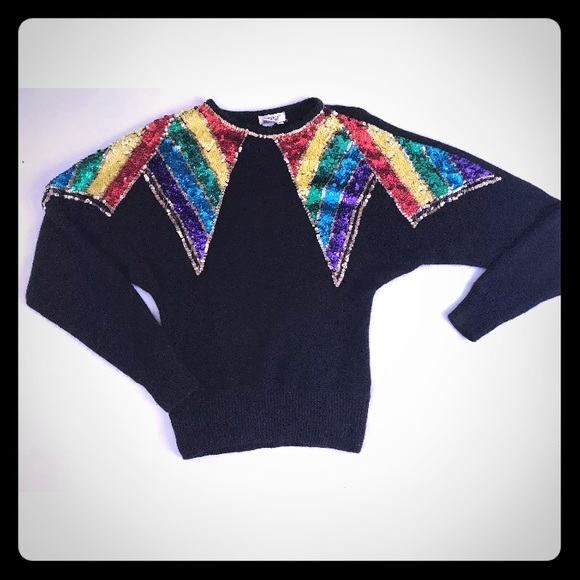 de rotchild Sweaters - Vintage Black Rainbow Sequin Sweater M Angora Silk